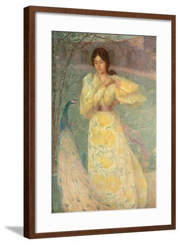 Young Girl with a Peacock-Edmond-francois Aman-jean-Framed Art Print