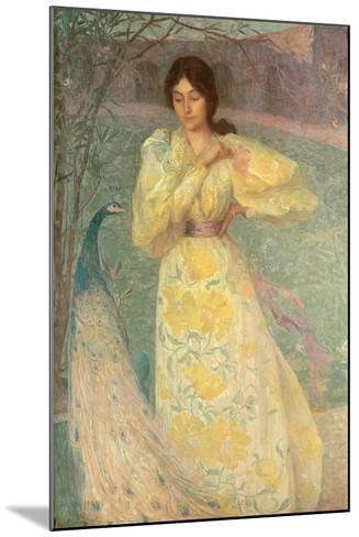 Young Girl with a Peacock-Edmond-francois Aman-jean-Mounted Giclee Print