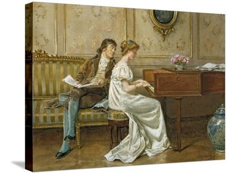 The New Spinet-George Goodwin Kilburne-Stretched Canvas Print