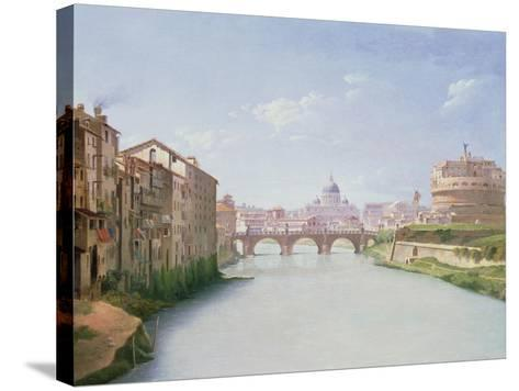 View of the Ponte and Castel Sant'Angelo in Rome-Christoffer-wilhelm Eckersberg-Stretched Canvas Print