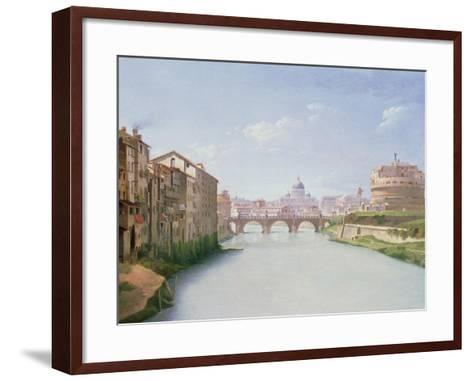 View of the Ponte and Castel Sant'Angelo in Rome-Christoffer-wilhelm Eckersberg-Framed Art Print