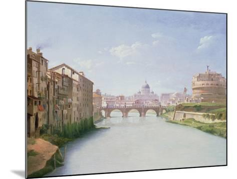 View of the Ponte and Castel Sant'Angelo in Rome-Christoffer-wilhelm Eckersberg-Mounted Giclee Print