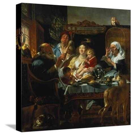 """""""As the Old Sing, the Young Pipe""""-Jacob Jordaens-Stretched Canvas Print"""