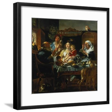 """""""As the Old Sing, the Young Pipe""""-Jacob Jordaens-Framed Art Print"""