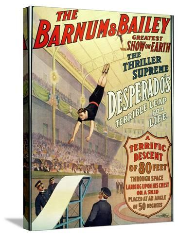 """Poster for Barnum and Bailey's Circus Showing Desperado's """"Terrible Leap for Life""""--Stretched Canvas Print"""