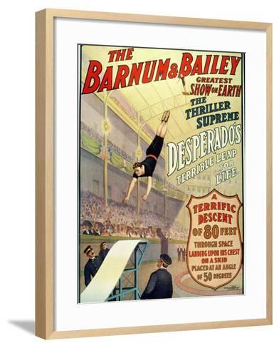 """Poster for Barnum and Bailey's Circus Showing Desperado's """"Terrible Leap for Life""""--Framed Art Print"""