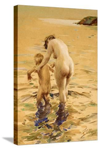 Her First Dip-Anders Leonard Zorn-Stretched Canvas Print
