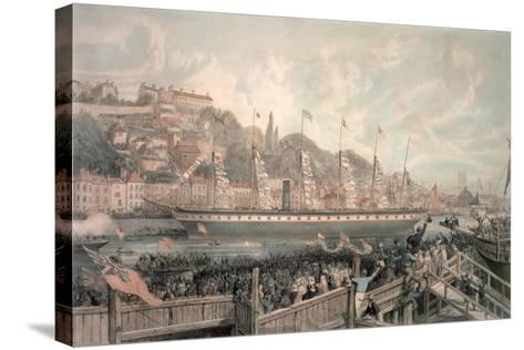 The Launch of the Steamship 'The Great Britain' in the Presence of H.R.H. Prince Albert-English School-Stretched Canvas Print