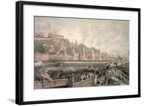 The Launch of the Steamship 'The Great Britain' in the Presence of H.R.H. Prince Albert-English School-Framed Art Print