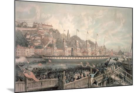 The Launch of the Steamship 'The Great Britain' in the Presence of H.R.H. Prince Albert-English School-Mounted Giclee Print