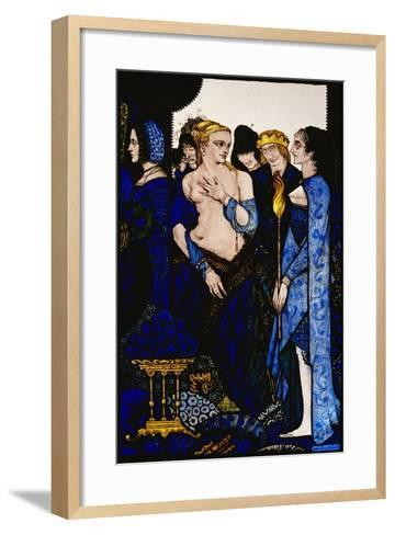 """""""We Named Lucrezia Crivelli and Titian's Lady with Amber Belly"""" Illustration by Harry Clarke from…-Harry Clarke-Framed Art Print"""