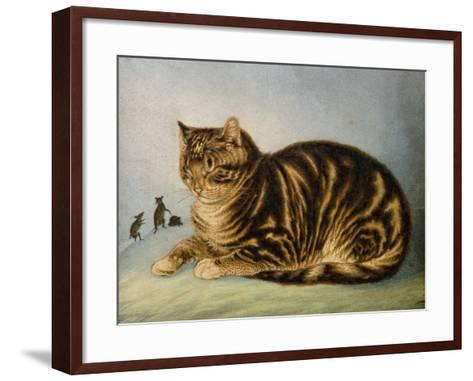 Puss Napping-George Baxter-Framed Art Print