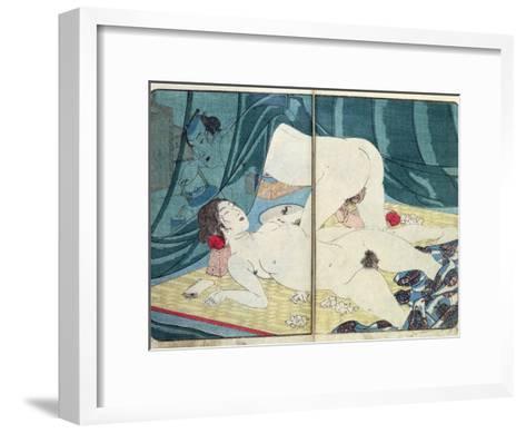 A 'Shunga' (Erotic) Print: 'All Passion Spent - the Satisfied Woman', C.1855-Kuniyoshi Utagawa-Framed Art Print