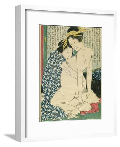 Lesbian Lovers, from 'Manpoku Wago-Jin', 1821-Katsushika Hokusai-Framed Art Print