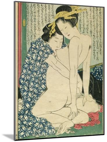 Lesbian Lovers, from 'Manpoku Wago-Jin', 1821-Katsushika Hokusai-Mounted Giclee Print