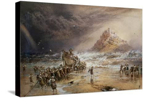 The Return of the Life Boat with St. Michael's Mount in the Distance, C.1874-Myles Birket Foster-Stretched Canvas Print