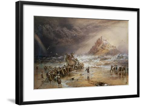 The Return of the Life Boat with St. Michael's Mount in the Distance, C.1874-Myles Birket Foster-Framed Art Print