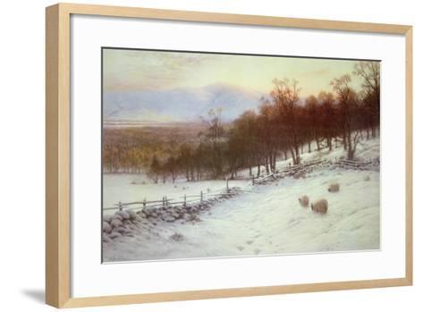 Snow Covered Fields with Sheep-Joseph Farquharson-Framed Art Print