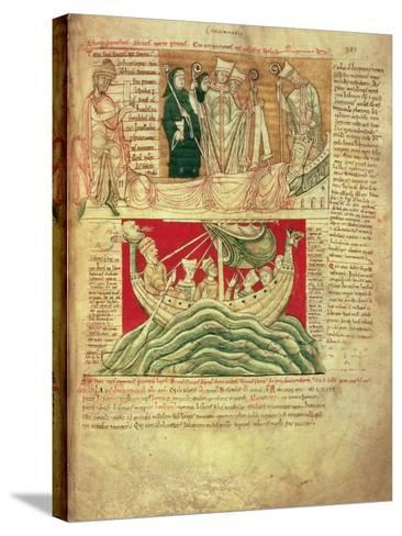 Ms Ccc 157 P.383 the Visions Dreamt by King Henry I in Normandy in 1130, from the Worcester…--Stretched Canvas Print