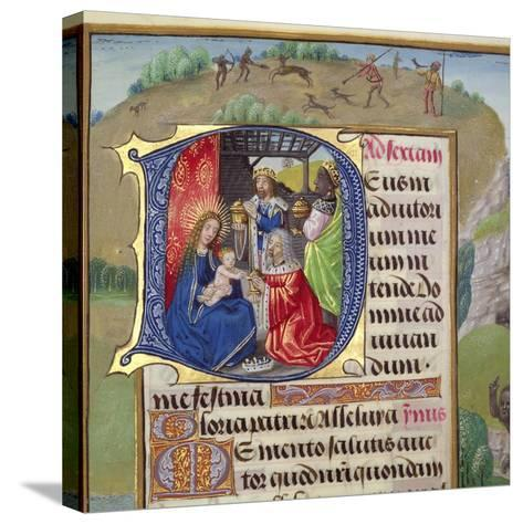 Historiated Initial 'D' Depicting the Adoration of the Kings, from a Books of Hours, Probably…--Stretched Canvas Print