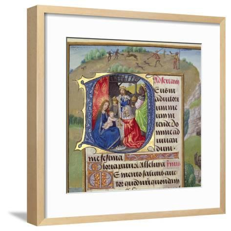 Historiated Initial 'D' Depicting the Adoration of the Kings, from a Books of Hours, Probably…--Framed Art Print
