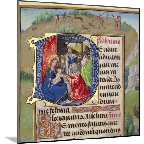Historiated Initial 'D' Depicting the Adoration of the Kings, from a Books of Hours, Probably…--Mounted Giclee Print