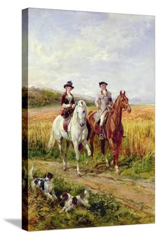Couple Riding with their Dogs-Heywood Hardy-Stretched Canvas Print