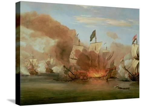"The Burning of ""The Royal James"" at the Battle of Sole Bank, 6th June 1672-Willem Van De, The Younger Velde-Stretched Canvas Print"