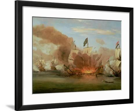 "The Burning of ""The Royal James"" at the Battle of Sole Bank, 6th June 1672-Willem Van De, The Younger Velde-Framed Art Print"