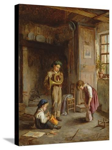 Boys with French Horn and Drum, 19th Century-J. Devaux-Stretched Canvas Print