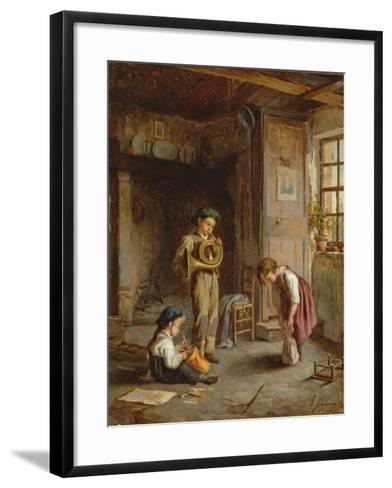 Boys with French Horn and Drum, 19th Century-J. Devaux-Framed Art Print