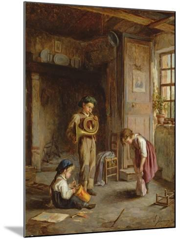 Boys with French Horn and Drum, 19th Century-J. Devaux-Mounted Giclee Print