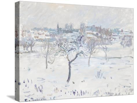 Snowy Landscape at Eragny with an Apple Tree, 1895-Camille Pissarro-Stretched Canvas Print
