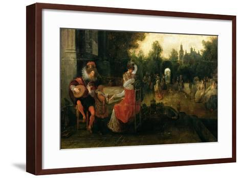 Queen Elizabeth I and the Earl of Leicester at Kenilworth-Dirck Hals-Framed Art Print