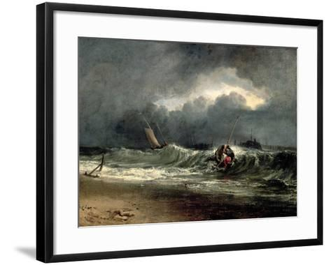 Fishermen Upon a Lee-Shore in Squally Weather-J^ M^ W^ Turner-Framed Art Print