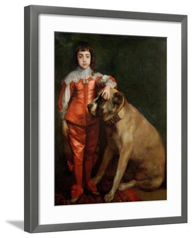 Full Length Portrait of Charles II as a Boy with a Mastiff-Sir Anthony Van Dyck-Framed Art Print