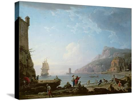 Morning Scene in a Bay, 1752-Claude Joseph Vernet-Stretched Canvas Print