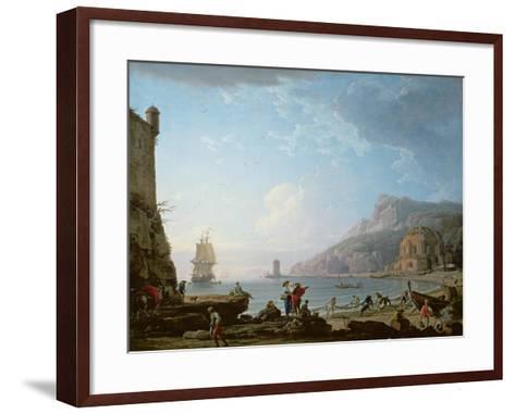 Morning Scene in a Bay, 1752-Claude Joseph Vernet-Framed Art Print