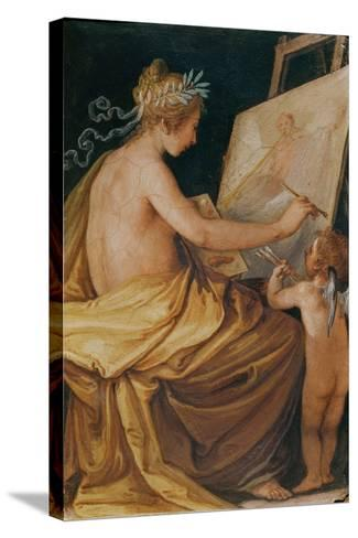 Painting, Assisted by a Cherub, Depicting Fame-Giovanni Mannozzi-Stretched Canvas Print
