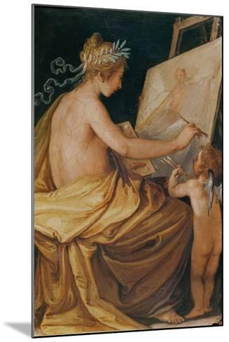 Painting, Assisted by a Cherub, Depicting Fame-Giovanni Mannozzi-Mounted Giclee Print