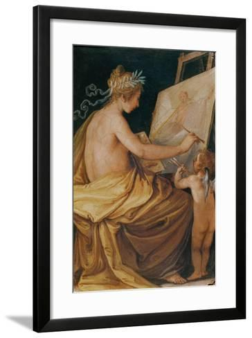 Painting, Assisted by a Cherub, Depicting Fame-Giovanni Mannozzi-Framed Art Print