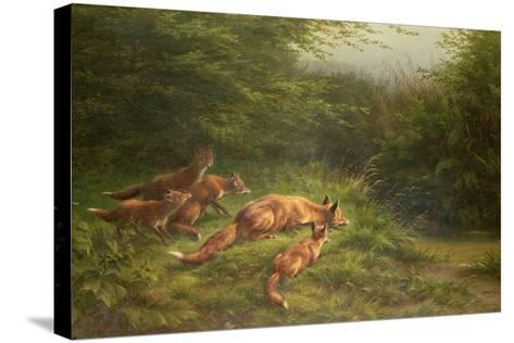 Foxes Waiting for the Prey-Carl Friedrich Deiker-Stretched Canvas Print