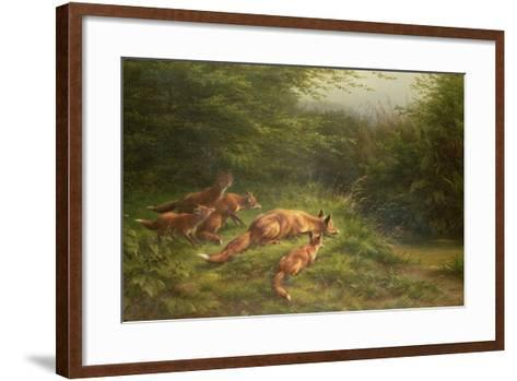 Foxes Waiting for the Prey-Carl Friedrich Deiker-Framed Art Print