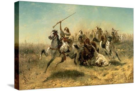Arab Horsemen on the Attack, 1869-Adolf Schreyer-Stretched Canvas Print