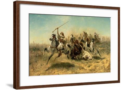 Arab Horsemen on the Attack, 1869-Adolf Schreyer-Framed Art Print