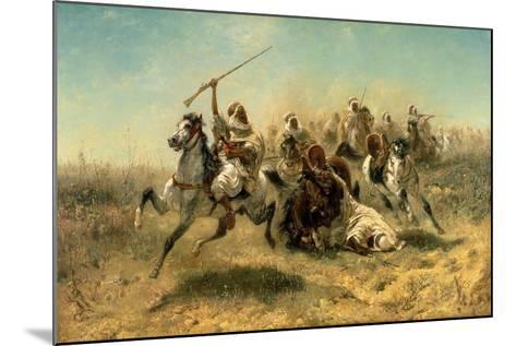 Arab Horsemen on the Attack, 1869-Adolf Schreyer-Mounted Giclee Print