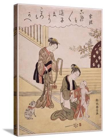 P.312-1941 a Mother Dressing Her Young Son in a Kimono-Suzuki Harunobu-Stretched Canvas Print