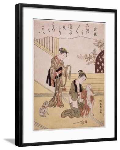 P.312-1941 a Mother Dressing Her Young Son in a Kimono-Suzuki Harunobu-Framed Art Print