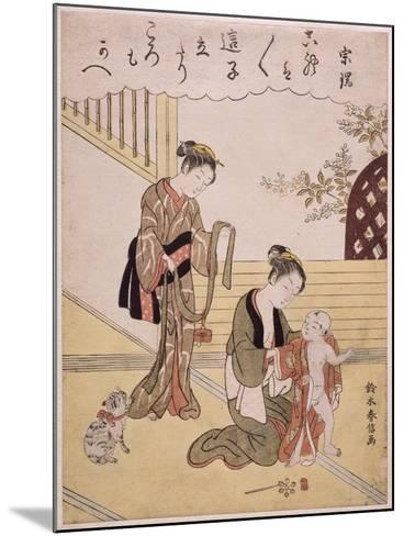 P.312-1941 a Mother Dressing Her Young Son in a Kimono-Suzuki Harunobu-Mounted Giclee Print
