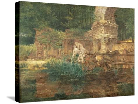 The Roman Ruins in the Gardens of Schonbrunn Palace-Ferdinand Georg Waldmuller-Stretched Canvas Print